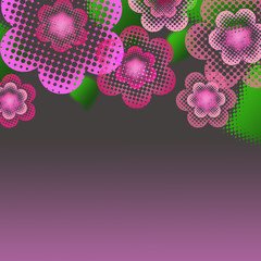 Beautiful background with pastel pink flowers with dots  and lea