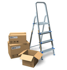 Stepladder and cardboard boxes