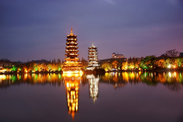 Tower in guilin at night