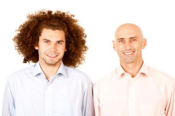Bald man, curly hair man