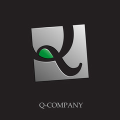 Logo initial letter Q on black background # Vector