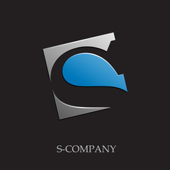 Logo initial letter S on black background # Vector