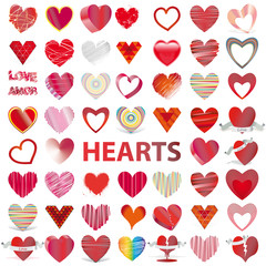 53 HEARTS set icon vector illustration