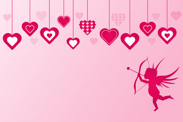 Cupid and Hearts Vector Illustration