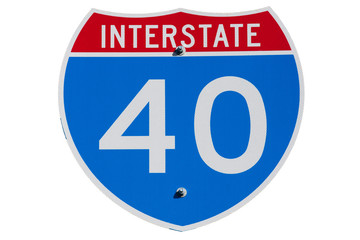 American Interstate I-40 sign on isolated background