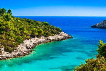 Blue lagoon, island paradise. Adriatic Sea of Croatia, Korcula