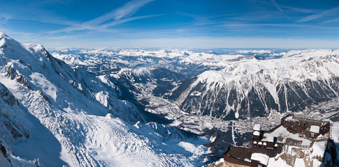 Chamonix valley panoramic aerial view from Aiguille du Midi