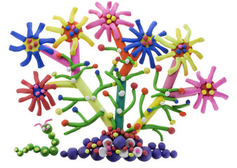 Fantastic plasticine flower and caterpillar
