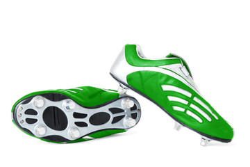 Green soccer footwear   Isolated