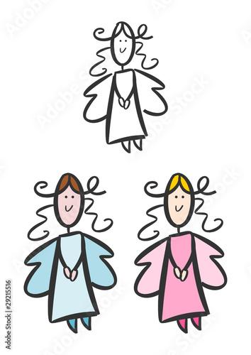 Fröhlicher Engel 3 Farbvarianten Stockfotos Und Lizenzfreie