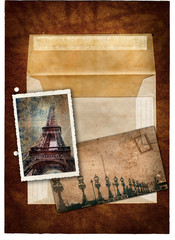 grunge postcard and picture from Paris