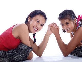 girls armwrestling