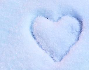 Fototapete - Heart on snow