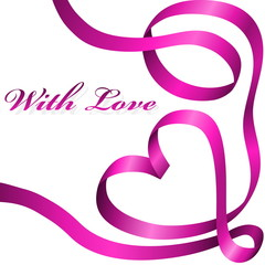 Pink decoration ribbon curled in heart shape.