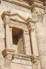 Detail of a window on Hadrian's Arch in Jerash