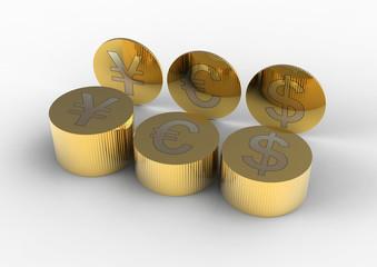 Gold coins of the euro, yen, dollar