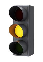 Yellow traffic light. Isolated white background.