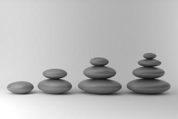 Fototapete - Four piles of stones