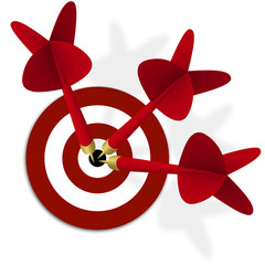 Wall Mural - target with three red darts in center