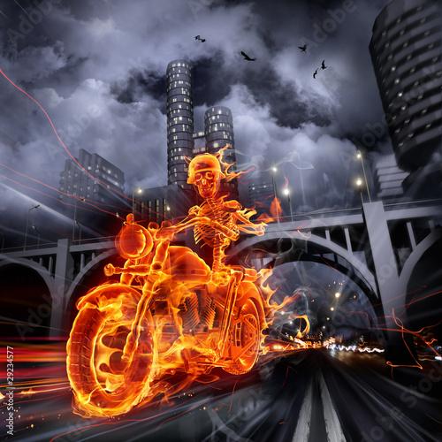 Wall mural Fire biker