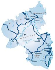 Bundesland Rheinand-Pfalz mit Autobahnen