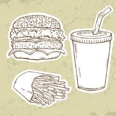 Hamburger, Fries and Drink