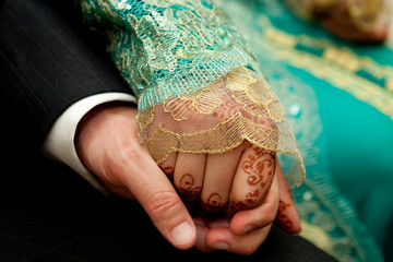 Close up of wedding couple's hands