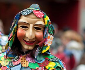 Fotobehang Carnaval Mask parade at the historical carnival in Freiburg, Germany
