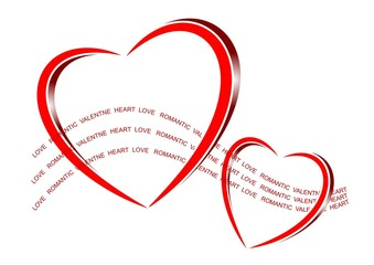 An illustration of bright shiny red hearts with text flow