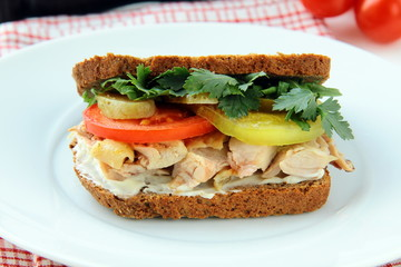 big healthy sandwiches made with whole grain bread,