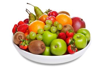 Bowl of fresh fruit isolated on white