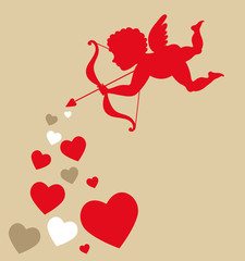 Cupid with hearts