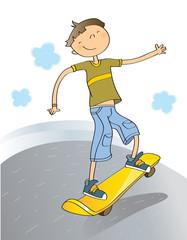 boy skateboarding, cartoon vector
