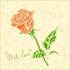 Vector rose on a vintage background