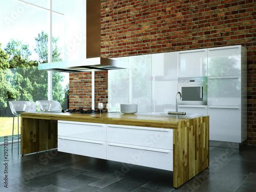 """3D Rendering Küche weiß mit Holz"""" Stockfotos und lizenzfreie ..."""