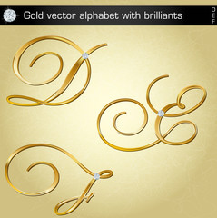 Gold vector aiphabet with brilliants