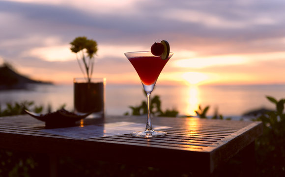 evening cocktail on the beach