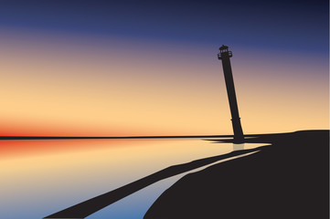 Illustration of a silhouette of a lighthouse at sunset.