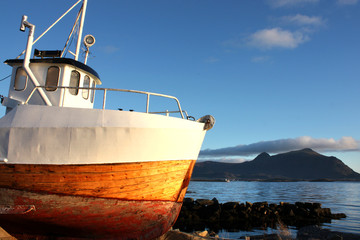 Repaired boat and Busknes fjord
