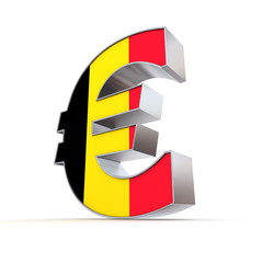 Shiny Euro Symbol - Textured Front - Flag of Belgium