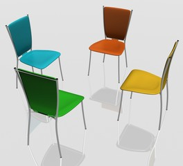 group of chairs stand in a circle