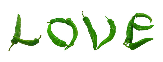 Love text composed of green peppers