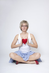 Woman portrait with red heart