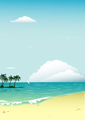vector illustration with tropical beach and ocean