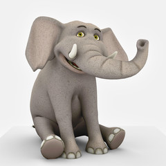 elephant cartoon sit and smiling
