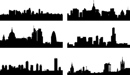 A collage of six different European city silhouettes