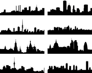 A collage of eight different European city silhouettes