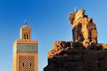 Foto op Canvas Marokko Cicogna e Moschea