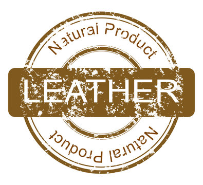Grunge stamp with natural leather product.