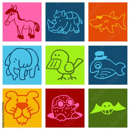u0026quot pictogrammes animaux mignons multicolore u0026quot  fichier vectoriel libre de droits sur la banque d